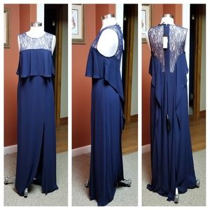 BCBGMAXAZRIA blue maxi lace prom dress